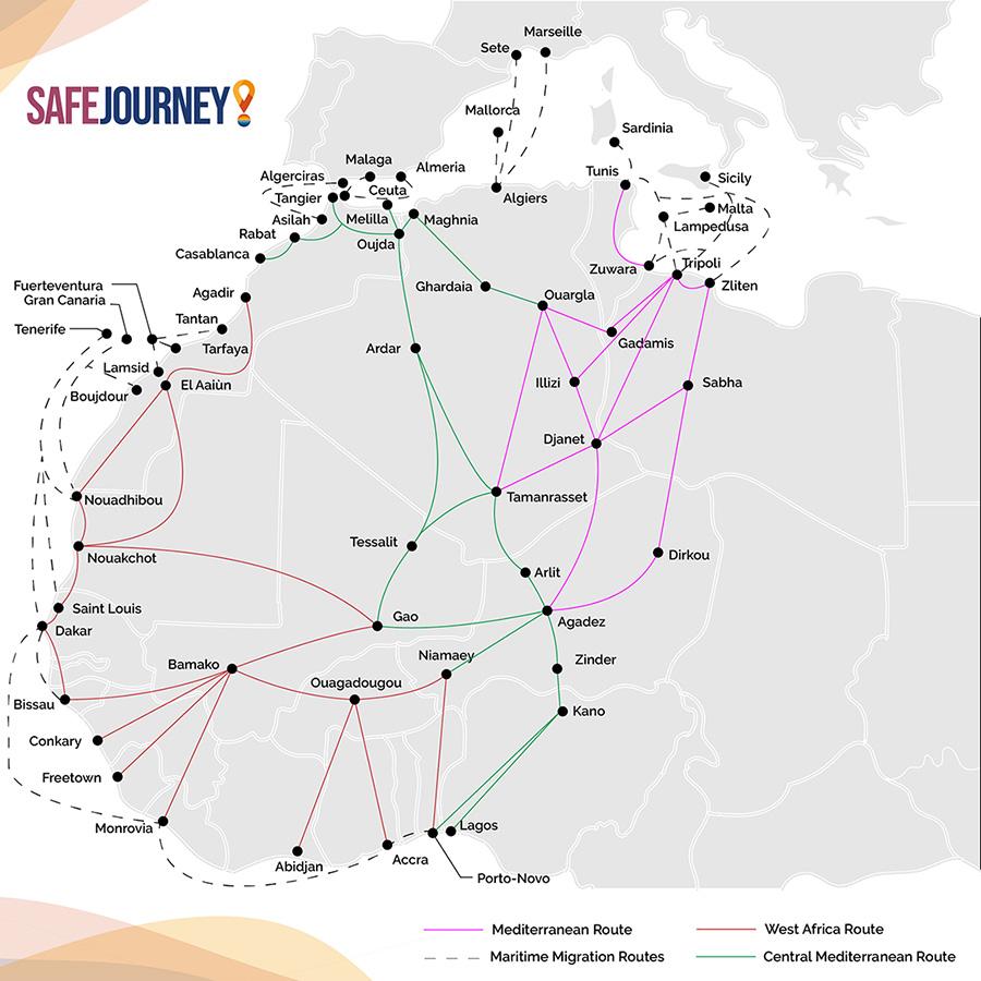"""""""Rapport sur les flux migratoires irréguliers du Maroc vers l'Europe"""" réalisé par les chercheurs, Mme Chadia Arab, et M. Mustapha Azaitraoui, dans le cadre du projet Safe Journey, année 2021."""